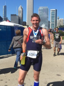 Chris Maxwell with his finishing medal