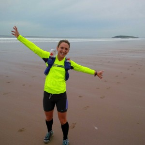 Michelle Maxwell on Rhosilli beach Gower 50 ultra
