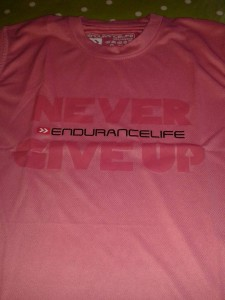 Race tshirt with Never Give Up logo