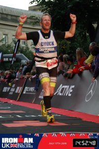 Alex Ralton finishing Ironman UK