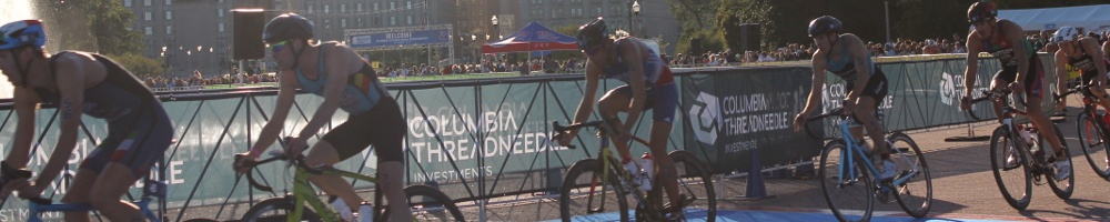 Elite Men on bikes at the World Triathlon Championships in Chicago
