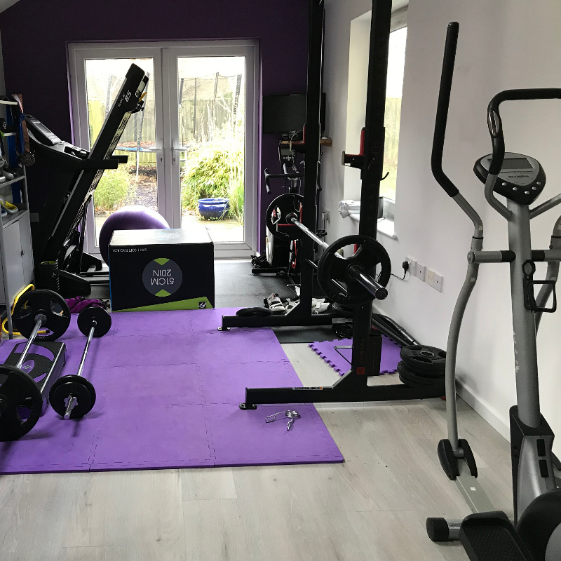 Gym equipment in a home gym